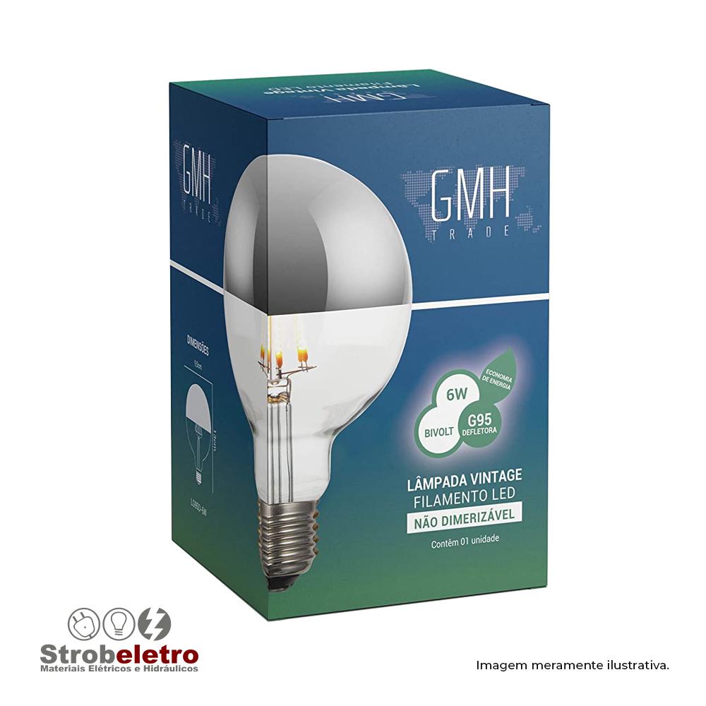 LÂMPADA FILAMENTO LED A19 DEFLETORA 2200K 6W E27